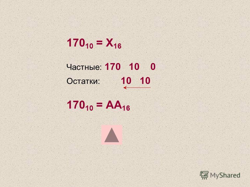 170 10 = Х 16 Частные: 170 10 0 Остатки: 10 10 170 10 = AA 16