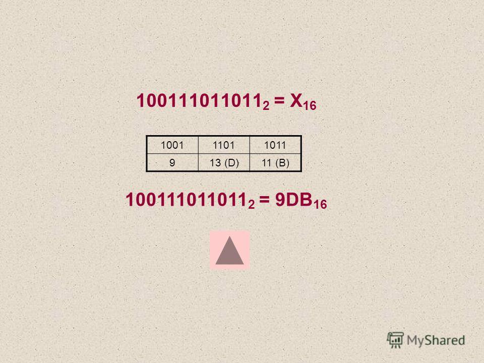 100111011011 2 = Х 16 100111011011 913 (D)11 (B) 100111011011 2 = 9DB 16