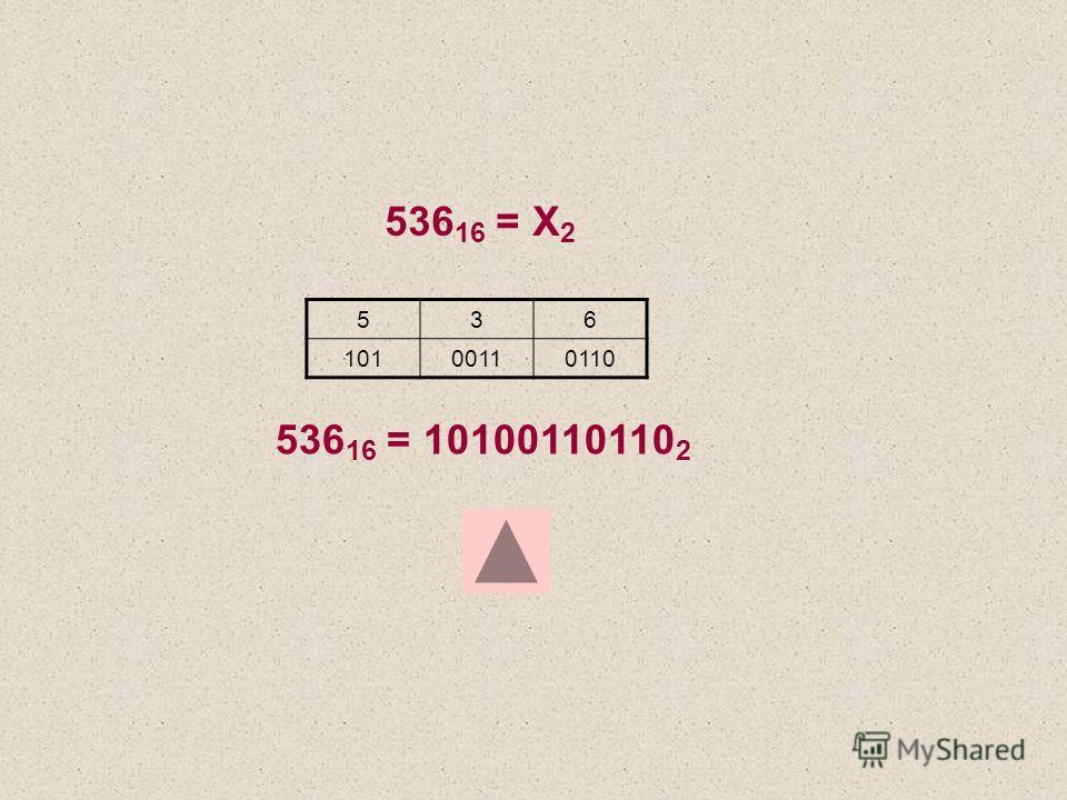 536 16 = Х 2 536 10100110110 536 16 = 10100110110 2