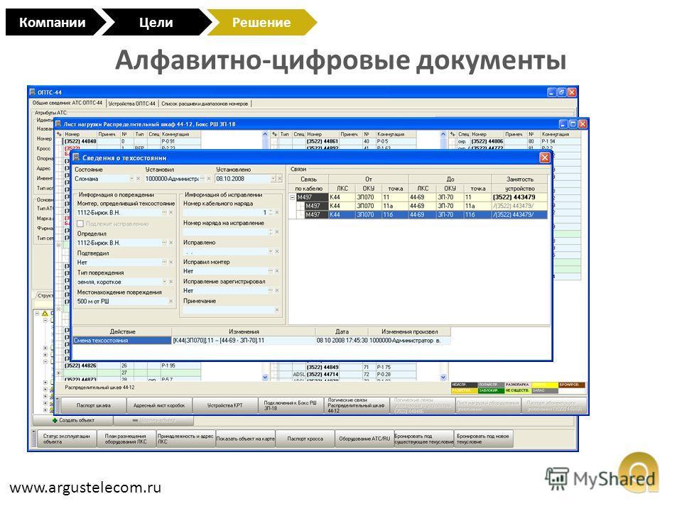 Алфавитно-цифровые документы www.argustelecom.ru КомпанииЦели Решение