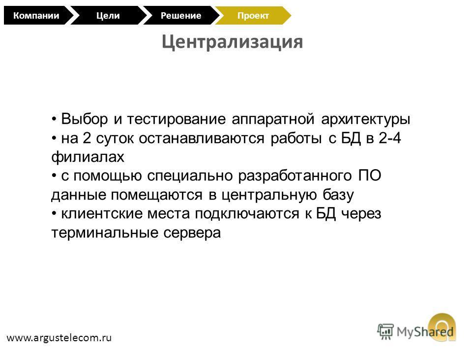 Централизация www.argustelecom.ru КомпанииЦели Проект Решение Выбор и тестирование аппаратной архитектуры на 2 суток останавливаются работы с БД в 2-4 филиалах с помощью специально разработанного ПО данные помещаются в центральную базу клиентские мес
