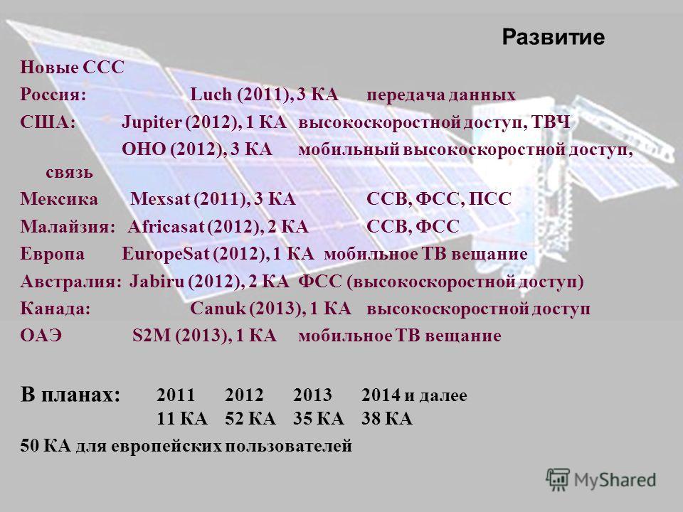 Новые ССС Россия: Luch (2011), 3 КА передача данных США: Jupiter (2012), 1 КА высокоскоростной доступ, ТВЧ OHO (2012), 3 КА мобильный высокоскоростной доступ, связь Мексика Mexsat (2011), 3 КА ССВ, ФСС, ПСС Малайзия: Africasat (2012), 2 КА ССВ, ФСС Е