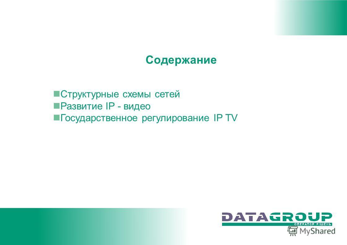 Содержание Структурные схемы сетей Развитие IP - видео Государственное регулирование IP TV