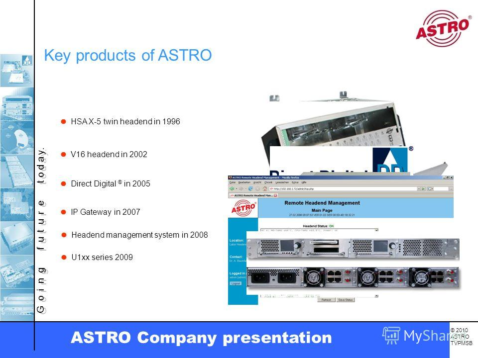 G o i n g f u t u r e t o d a y. © 2010 ASTRO TVPMSB ASTRO Company presentation HSA X-5 twin headend in 1996 V16 headend in 2002 Direct Digital ® in 2005 IP Gateway in 2007 Headend management system in 2008 Key products of ASTRO U1xx series 2009