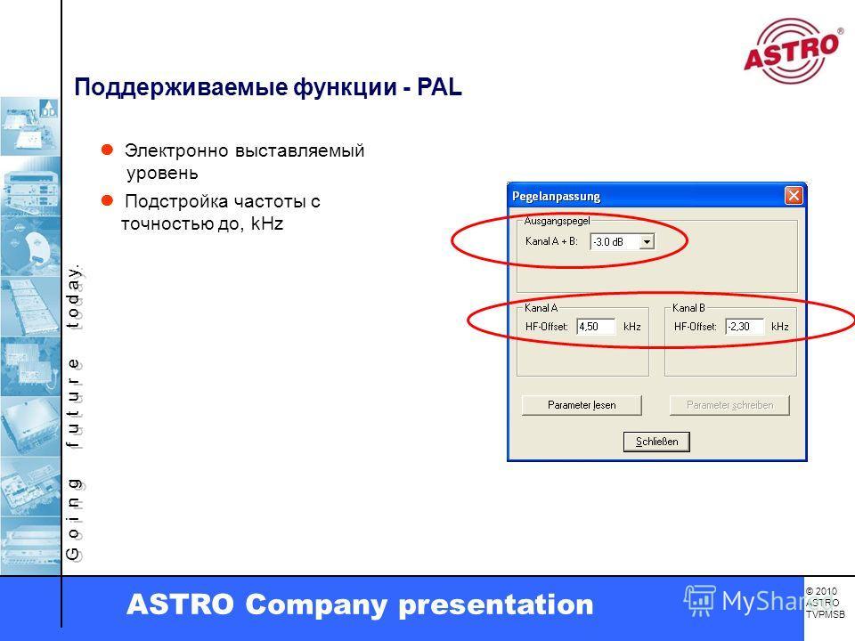G o i n g f u t u r e t o d a y. © 2010 ASTRO TVPMSB ASTRO Company presentation Поддерживаемые функции - PAL Электронно выставляемый уровень Подстройка частоты с точностью до, kHz