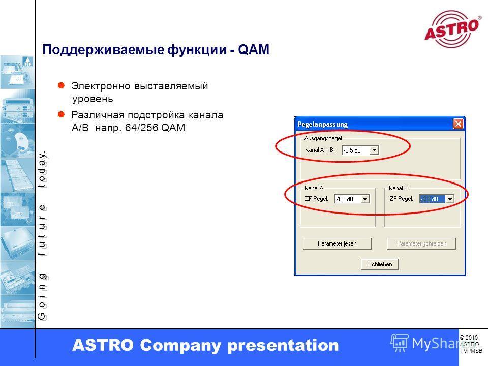 G o i n g f u t u r e t o d a y. © 2010 ASTRO TVPMSB ASTRO Company presentation Поддерживаемые функции - QAM Электронно выставляемый уровень Различная подстройка канала A/B напр. 64/256 QAM