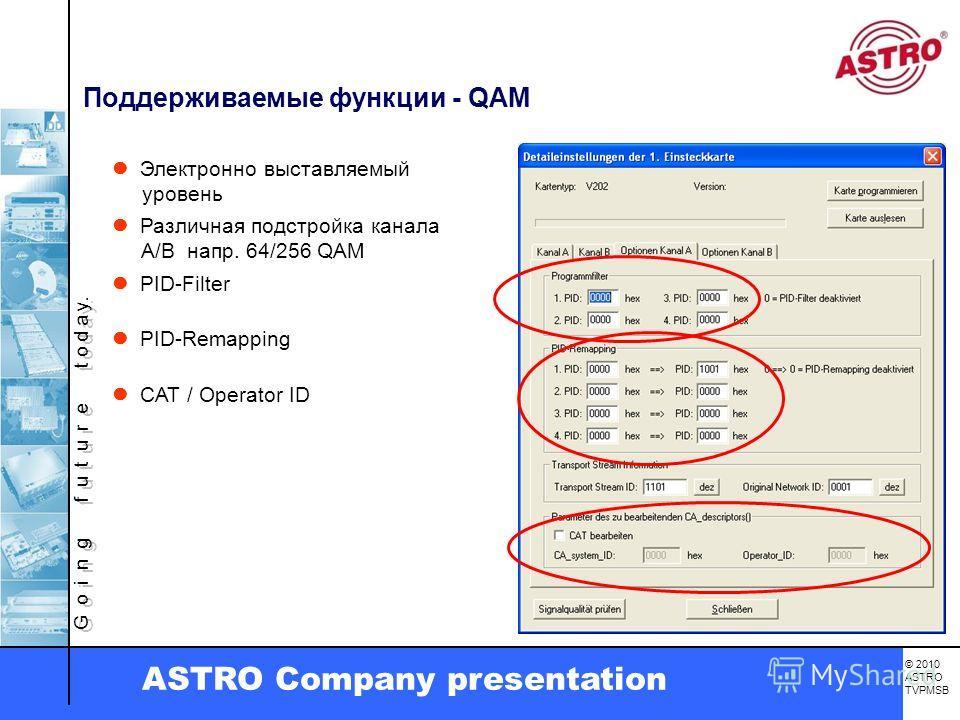 G o i n g f u t u r e t o d a y. © 2010 ASTRO TVPMSB ASTRO Company presentation PID-Filter PID-Remapping Поддерживаемые функции - QAM Электронно выставляемый уровень Различная подстройка канала A/B напр. 64/256 QAM CAT / Operator ID