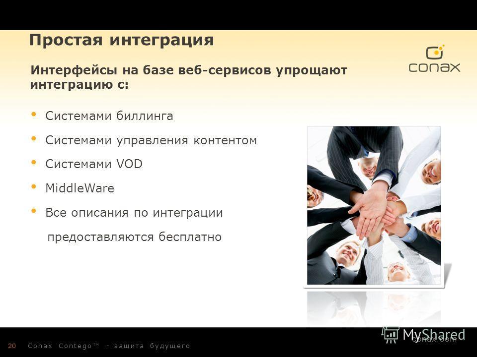 conax.com Простая интеграция Интерфейсы на базе веб-сервисов упрощают интеграцию с: Системами биллинга Системами управления контентом Системами VOD MiddleWare Все описания по интеграции предоставляются бесплатно 20Conax Contego - защита будущего