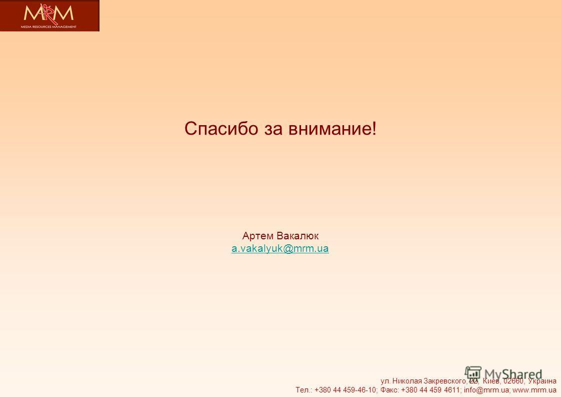 Спасибо за внимание! Артем Вакалюк a.vakalyuk@mrm.ua a.vakalyuk@mrm.ua ул. Николая Закревского, 22, Киев, 02660, Украина Тел.: +380 44 459-46-10; Факс: +380 44 459 4611; info@mrm.ua; www.mrm.ua