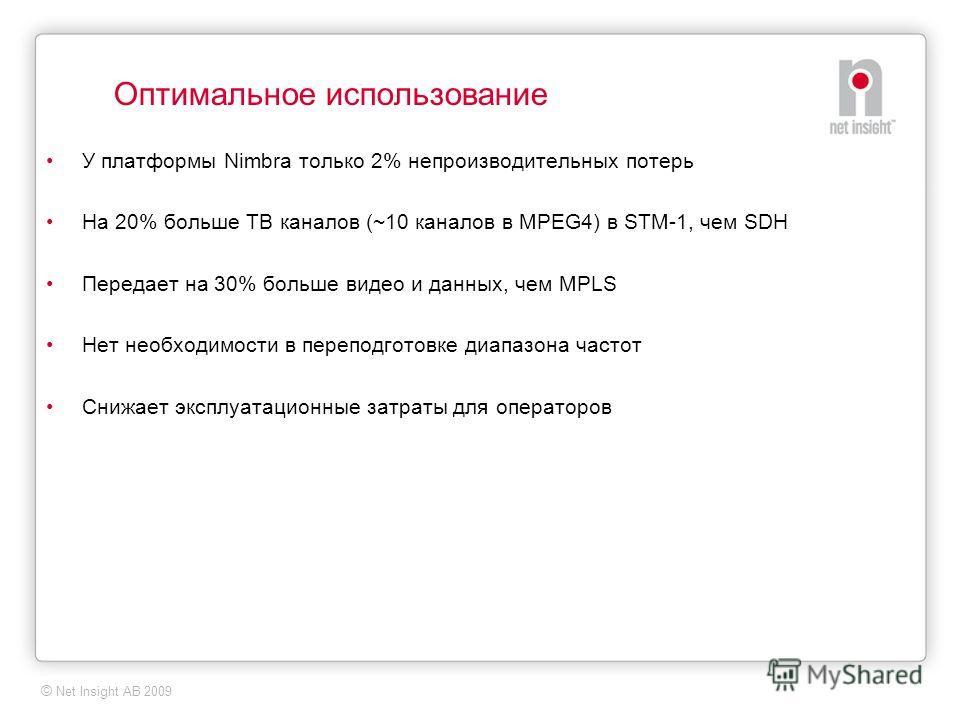 © Net Insight AB 2009 Оптимальное использование У платформы Nimbra только 2% непроизводительных потерь На 20% больше ТВ каналов (~10 каналов в MPEG4) в STM-1, чем SDH Передает на 30% больше видео и данных, чем MPLS Нет необходимости в переподготовке