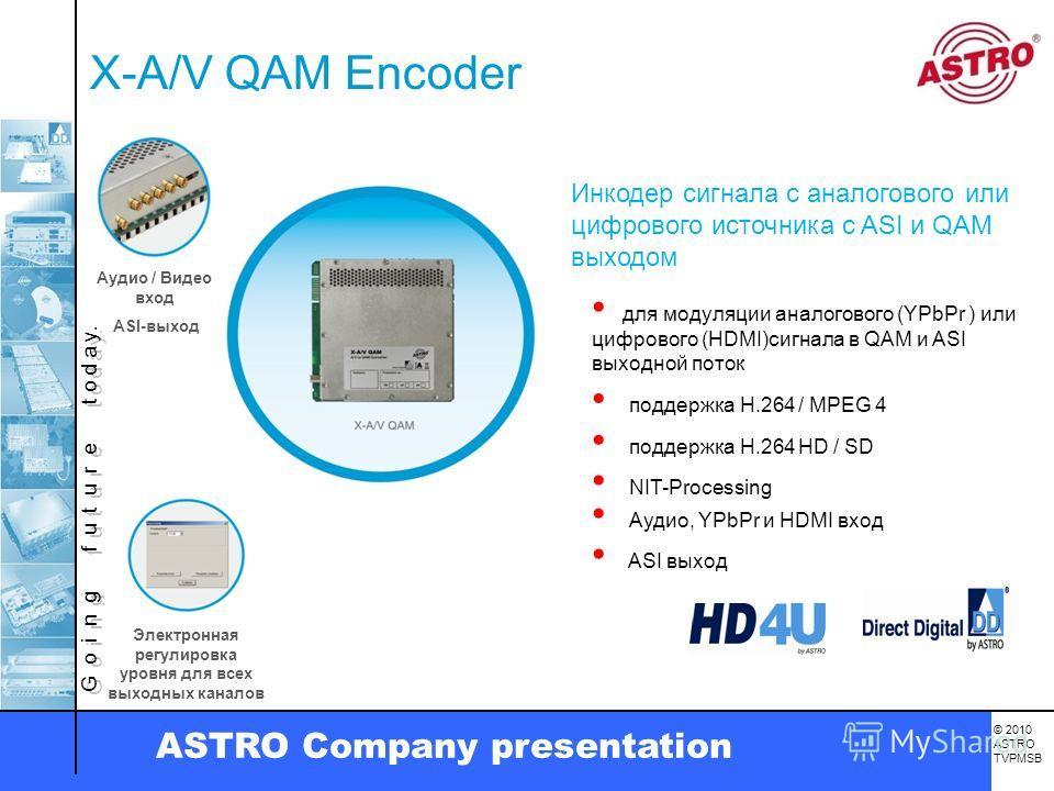 G o i n g f u t u r e t o d a y. © 2010 ASTRO TVPMSB ASTRO Company presentation X-A/V QAM Encoder Электронная регулировка уровня для всех выходных каналов Инкодер сигнала с аналогового или цифрового источника с ASI и QAM выходом для модуляции аналого