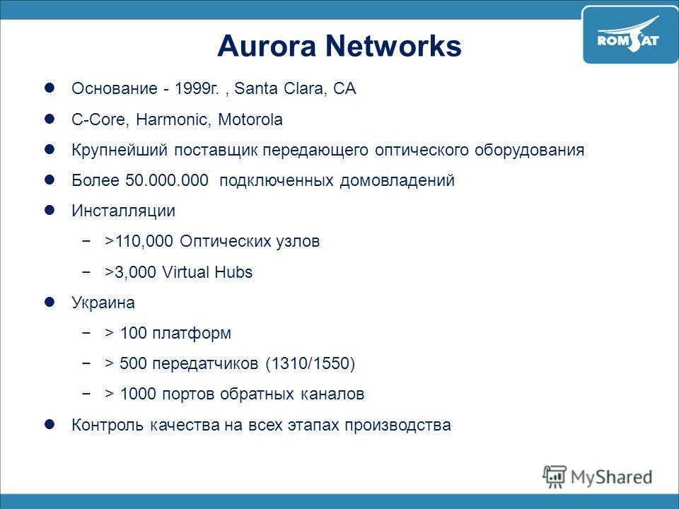 Aurora Networks Основание - 1999г., Santa Clara, CA C-Core, Harmonic, Motorola Крупнейший поставщик передающего оптического оборудования Более 50.000.000 подключенных домовладений Инсталляции >110,000 Оптических узлов >3,000 Virtual Hubs Украина > 10