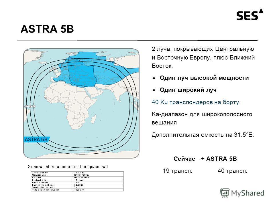 ASTRA 5B 2 луча, покрывающих Центральную и Восточную Европу, плюс Ближний Восток. Один луч высокой мощности Один широкий луч 40 Ku транспондеров на борту. Ka-диапазон для широкополосного вещания Дополнительная емкость на 31.5°E: Сейчас+ ASTRA 5B 19 т