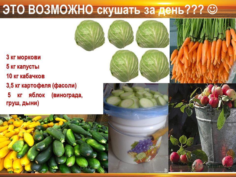 3 кг моркови 5 кг капусты 10 кг кабачков 3,5 кг картофеля (фасоли) 5 кг яблок (винограда, груш, дыни) 5 кг яблок (винограда, груш, дыни) ЭТО ВОЗМОЖНО скушать за день???