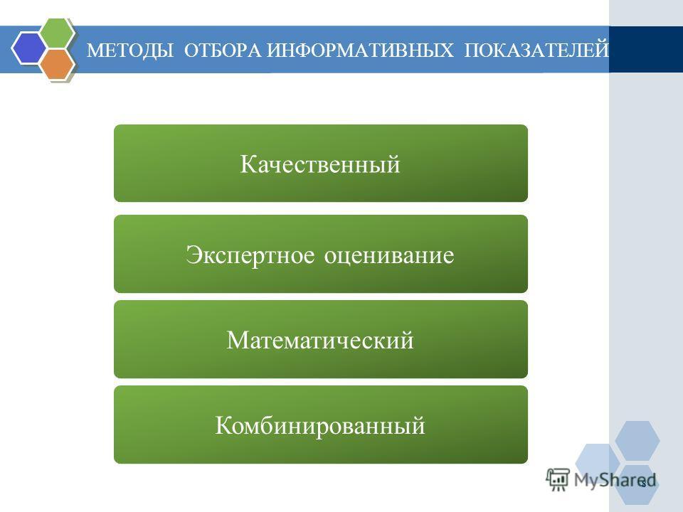 МЕТОДЫ ОТБОРА ИНФОРМАТИВНЫХ ПОКАЗАТЕЛЕЙ Математический Экспертное оценивание Качественный Комбинированный 8