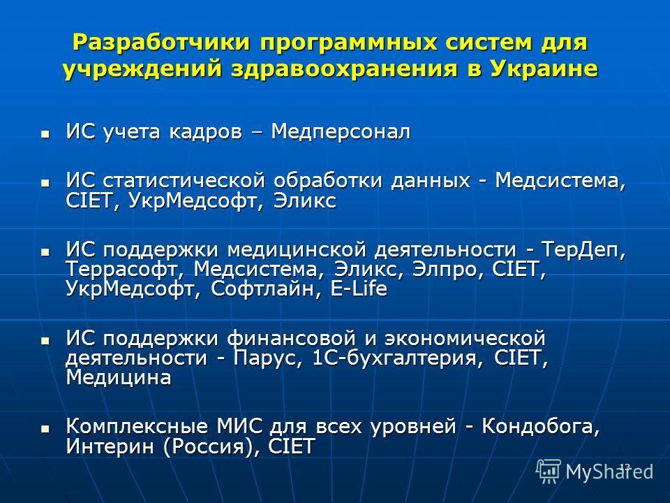 13 Разработчики программных систем для учреждений здравоохранения в Украине ИС учета кадров – Медперсонал ИС учета кадров – Медперсонал ИС статистической обработки данных - Медсистема, СIЕТ, УкрМедсофт, Эликс ИС статистической обработки данных - Медс