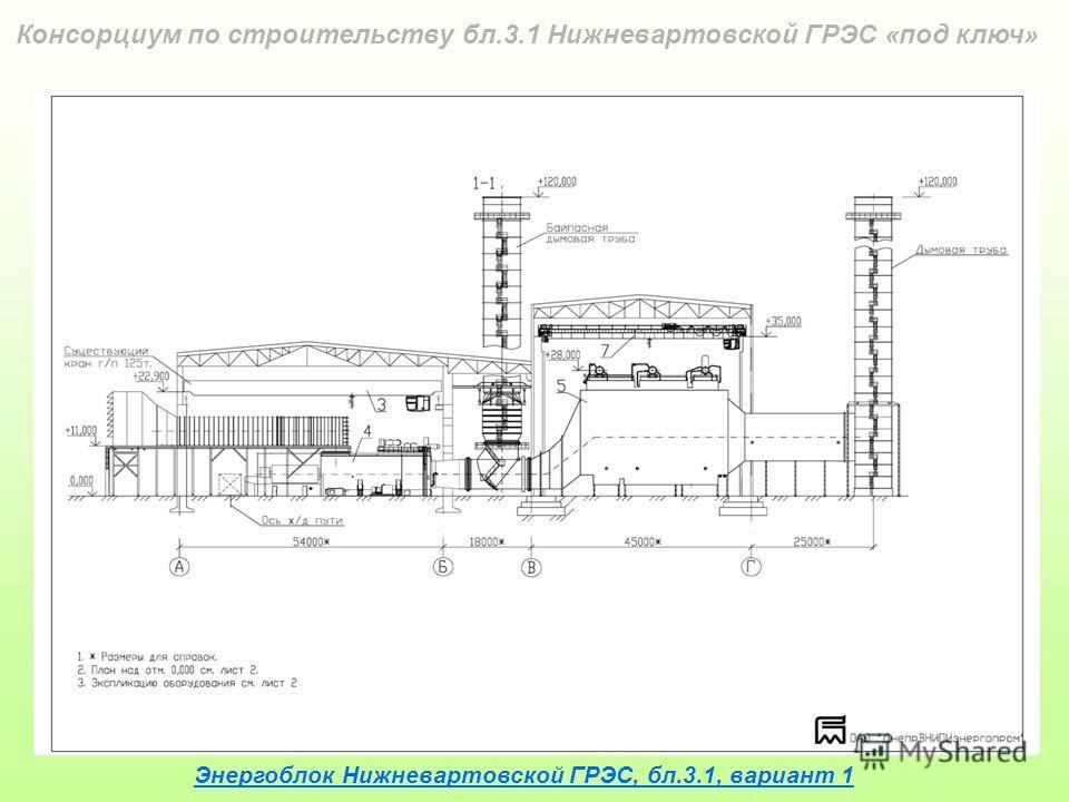 Энергоблок Нижневартовской ГРЭС, бл.3.1, вариант 1 Консорциум по строительству бл.3.1 Нижневартовской ГРЭС «под ключ»