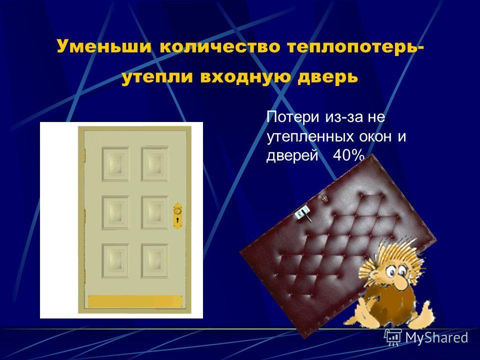 Уменьши количество теплопотерь- утепли входную дверь Потери из-за не утепленных окон и дверей 40%