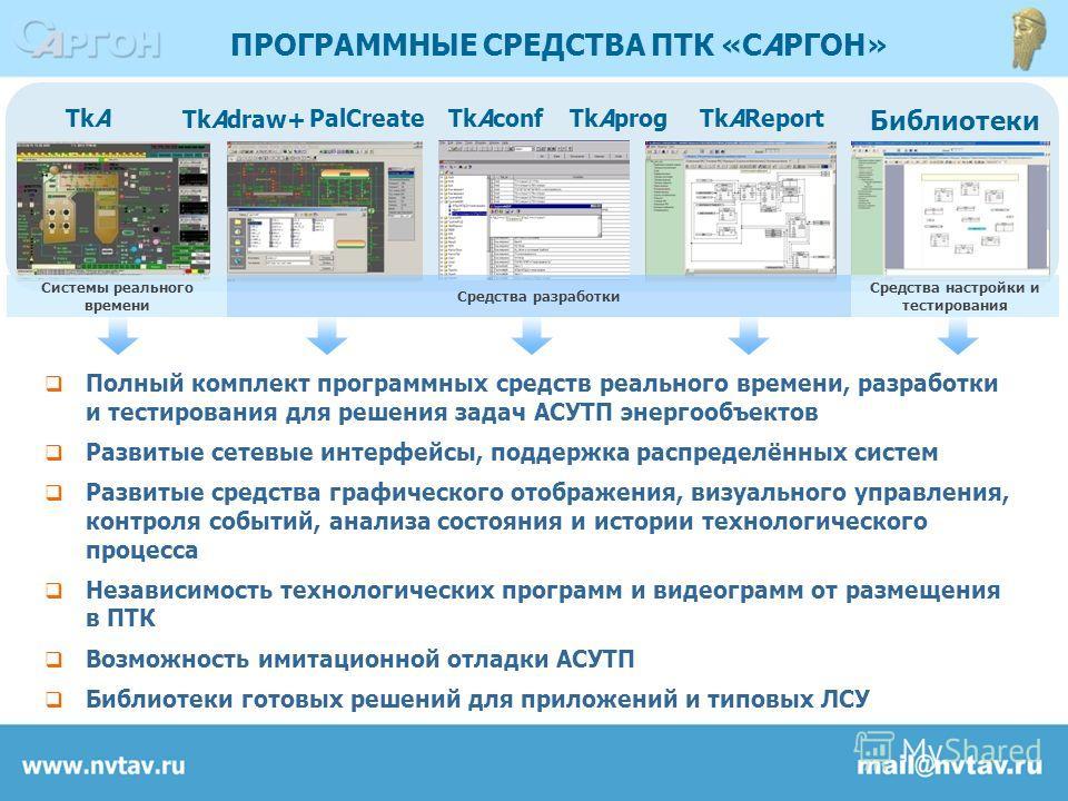 Полный комплект программных средств реального времени, разработки и тестирования для решения задач АСУТП энергообъектов Развитые сетевые интерфейсы, поддержка распределённых систем Развитые средства графического отображения, визуального управления, к