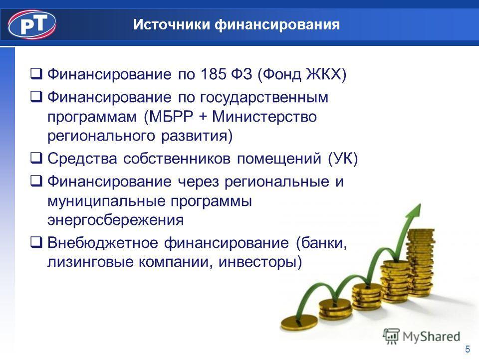 5 Источники финансирования Финансирование по 185 ФЗ (Фонд ЖКХ) Финансирование по государственным программам (МБРР + Министерство регионального развития) Средства собственников помещений (УК) Финансирование через региональные и муниципальные программы