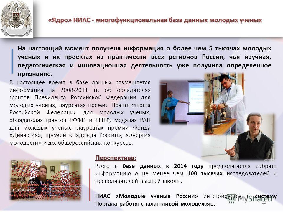 «Ядро» НИАС - многофункциональная база данных молодых ученых На настоящий момент получена информация о более чем 5 тысячах молодых ученых и их проектах из практически всех регионов России, чья научная, педагогическая и инновационная деятельность уже