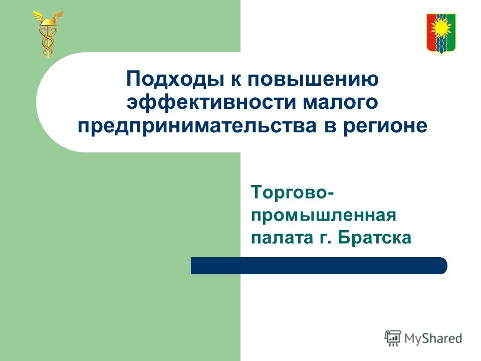 Подходы к повышению эффективности малого предпринимательства в регионе Торгово- промышленная палата г. Братска
