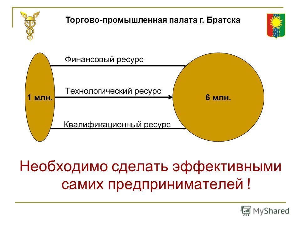 Необходимо сделать эффективными самих предпринимателей ! Торгово-промышленная палата г. Братска