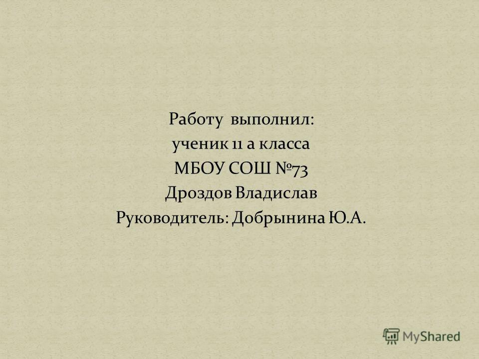 Работу выполнил: ученик 11 а класса МБОУ СОШ 73 Дроздов Владислав Руководитель: Добрынина Ю.А.