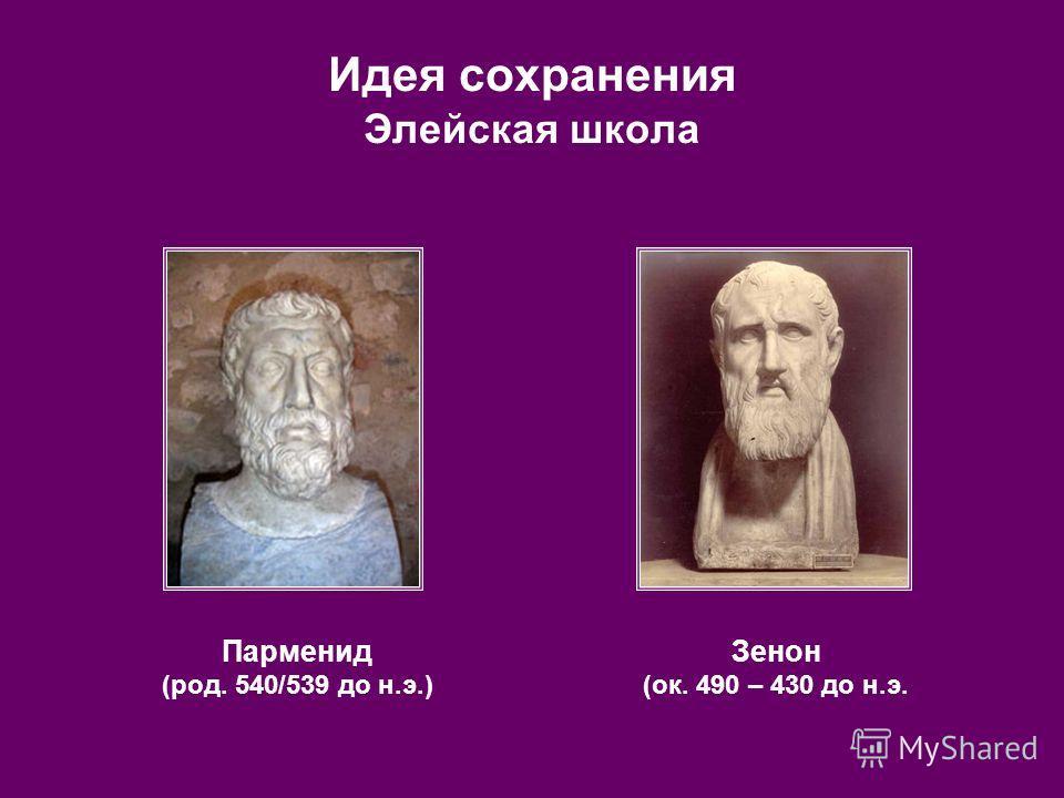 Идея сохранения Элейская школа Парменид (род. 540/539 до н.э.) Зенон (ок. 490 – 430 до н.э.