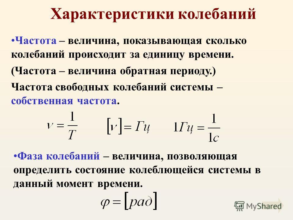 Характеристики колебаний Частота – величина, показывающая сколько колебаний происходит за единицу времени. (Частота – величина обратная периоду.) Частота свободных колебаний системы – собственная частота. Фаза колебаний – величина, позволяющая опреде