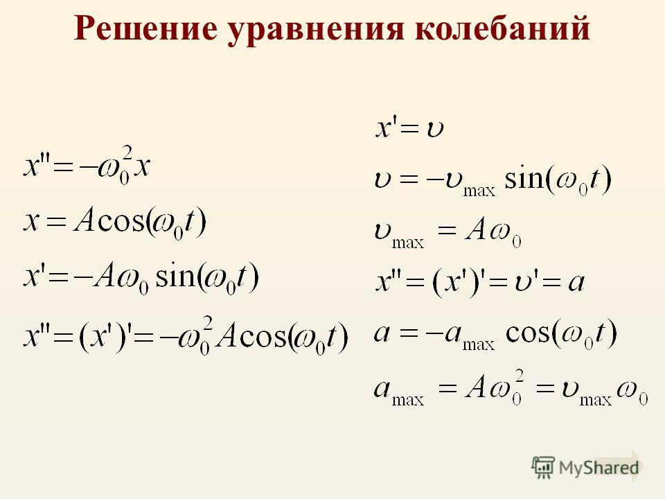 Решение уравнения колебаний