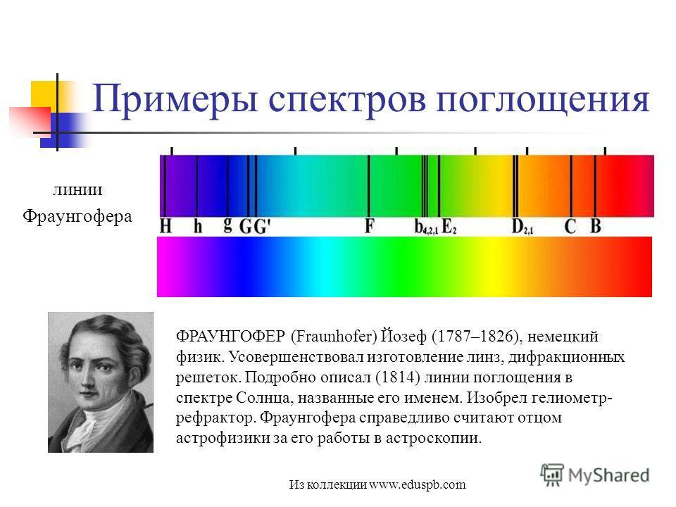Примеры спектров поглощения линии Фраунгофера ФРАУНГОФЕР (Fraunhofer) Йозеф (1787–1826), немецкий физик. Усовершенствовал изготовление линз, дифракционных решеток. Подробно описал (1814) линии поглощения в спектре Солнца, названные его именем. Изобре