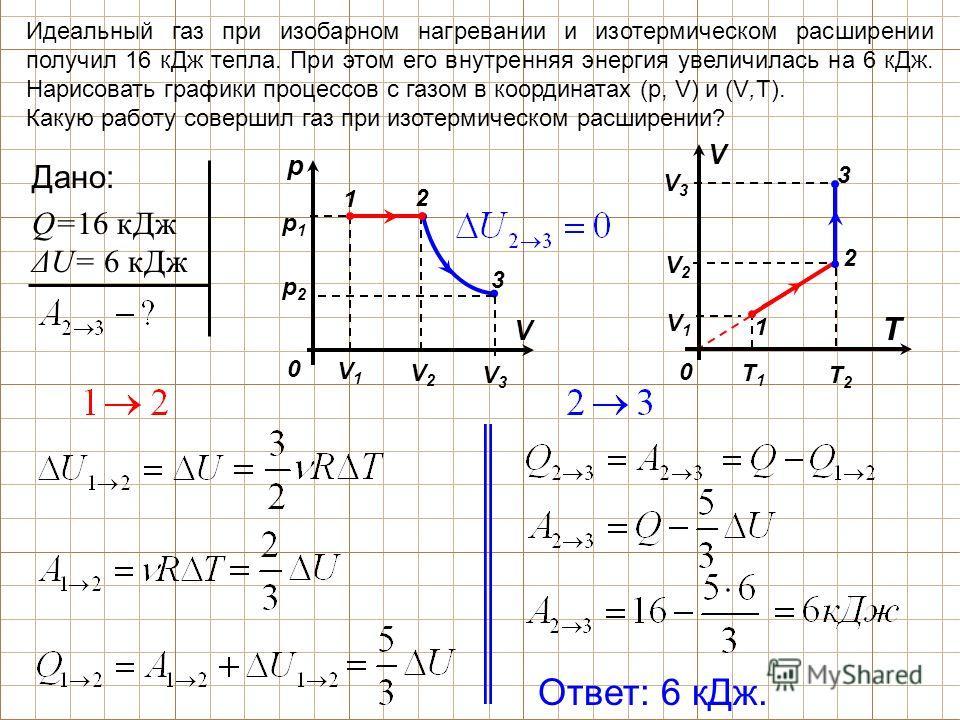 T1T1 T2T2 V1V1 V2V2 Идеальный газ при изобарном нагревании и изотермическом расширении получил 16 кДж тепла. При этом его внутренняя энергия увеличилась на 6 кДж. Нарисовать графики процессов с газом в координатах (р, V) и (V,Т). Какую работу соверши