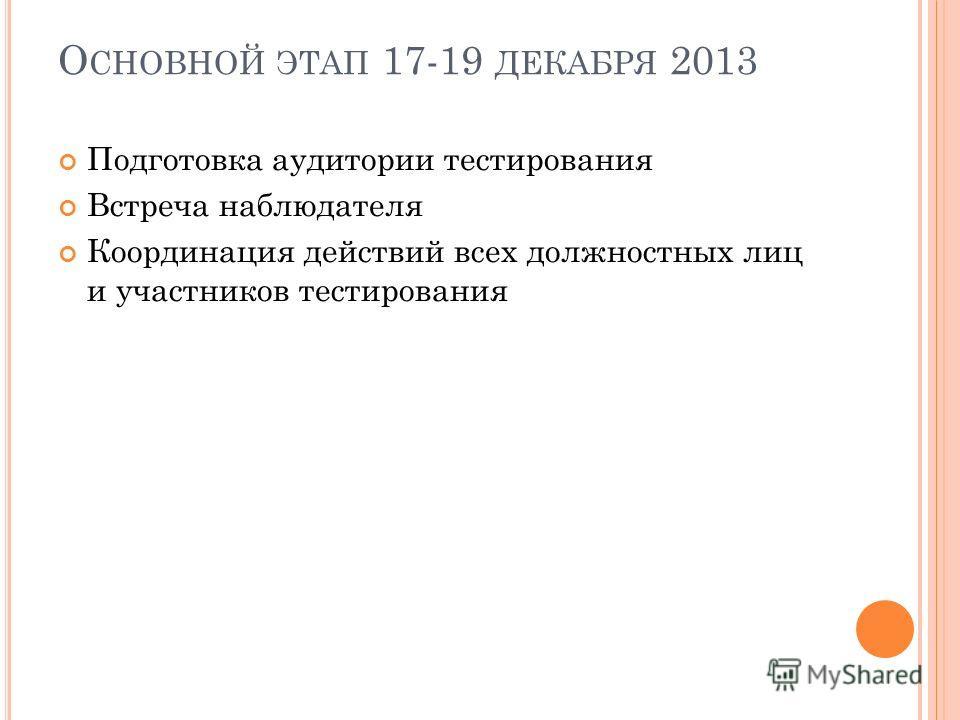 О СНОВНОЙ ЭТАП 17-19 ДЕКАБРЯ 2013 Подготовка аудитории тестирования Встреча наблюдателя Координация действий всех должностных лиц и участников тестирования