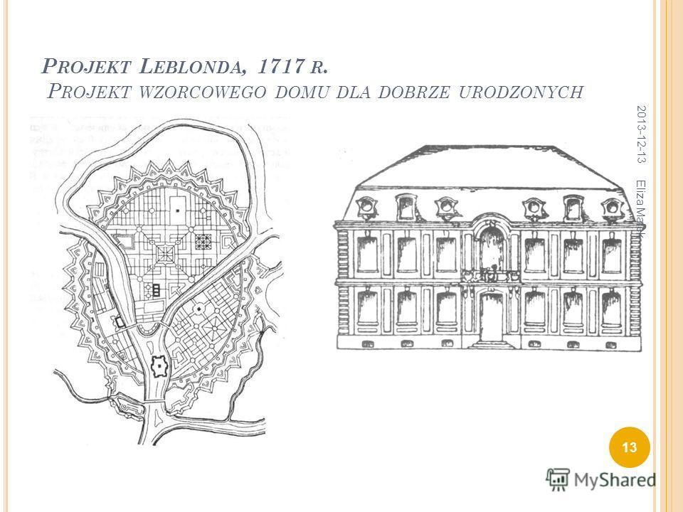 P ROJEKT L EBLONDA, 1717 R. P ROJEKT WZORCOWEGO DOMU DLA DOBRZE URODZONYCH 2013-12-13 13 Eliza Małek