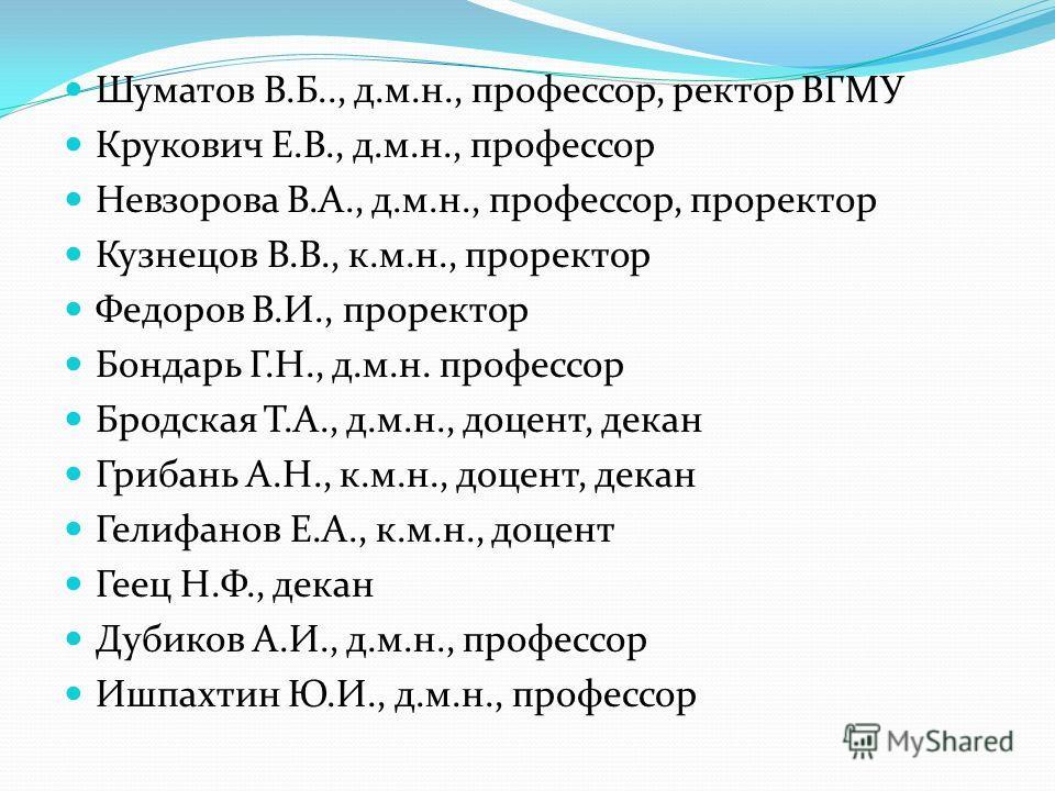 Шуматов В.Б.., д.м.н., профессор, ректор ВГМУ Крукович Е.В., д.м.н., профессор Невзорова В.А., д.м.н., профессор, проректор Кузнецов В.В., к.м.н., проректор Федоров В.И., проректор Бондарь Г.Н., д.м.н. профессор Бродская Т.А., д.м.н., доцент, декан Г