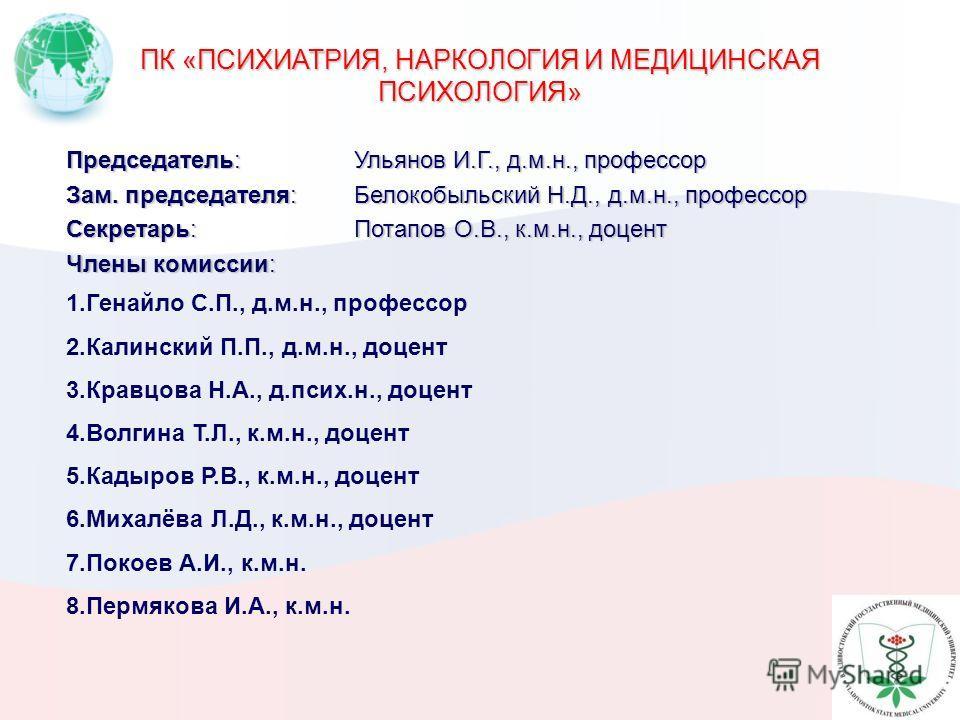 ПК «ПСИХИАТРИЯ, НАРКОЛОГИЯ И МЕДИЦИНСКАЯ ПСИХОЛОГИЯ» Председатель:Ульянов И.Г., д.м.н., профессор Зам. председателя:Белокобыльский Н.Д., д.м.н., профессор Секретарь:Потапов О.В., к.м.н., доцент Члены комиссии: 1. Генайло С.П., д.м.н., профессор 2. Ка