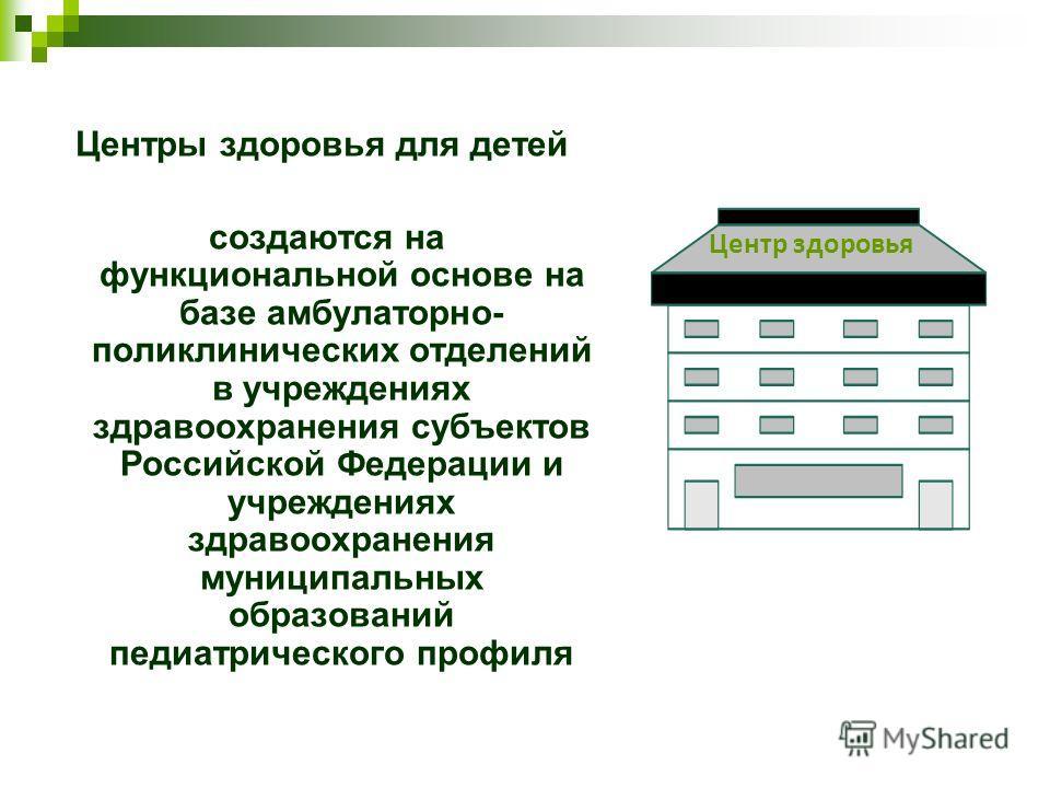 Центры здоровья для детей создаются на функциональной основе на базе амбулаторно- поликлинических отделений в учреждениях здравоохранения субъектов Российской Федерации и учреждениях здравоохранения муниципальных образований педиатрического профиля Ц