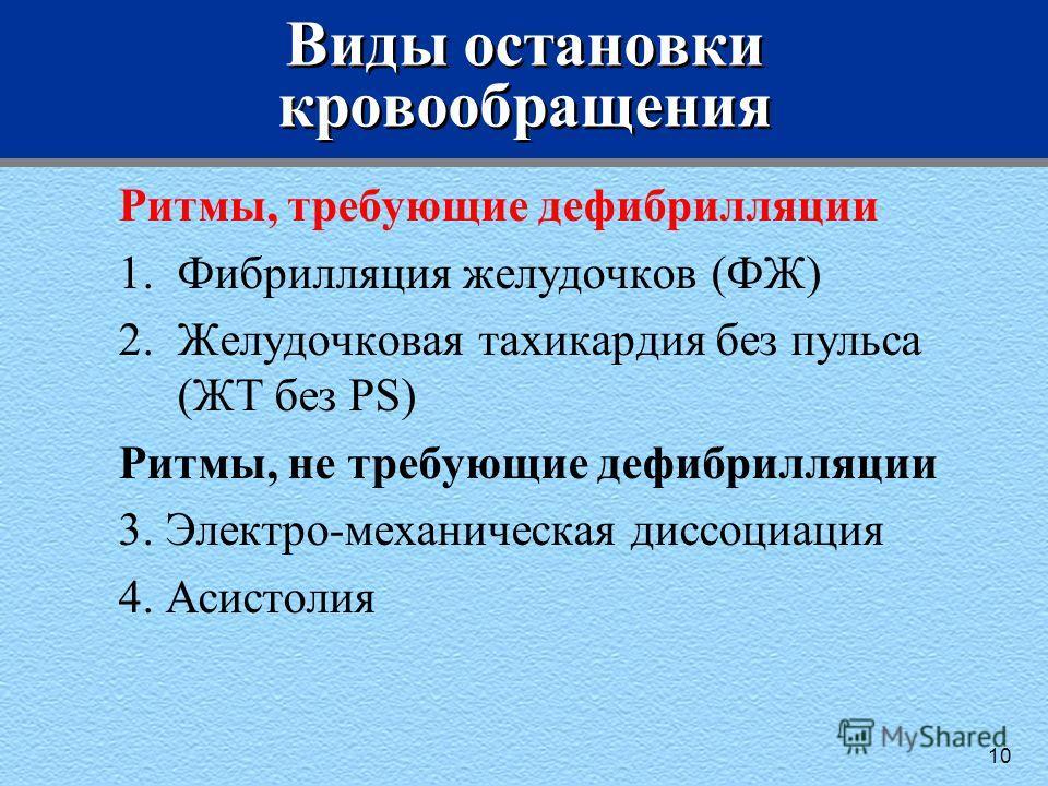 Виды остановки кровообращения Ритмы, требующие дефибрилляции 1.Фибрилляция желудочков (ФЖ) 2.Желудочковая тахикардия без пульса (ЖТ без PS) Ритмы, не требующие дефибрилляции 3. Электро-механическая диссоциация 4. Асистолия 10