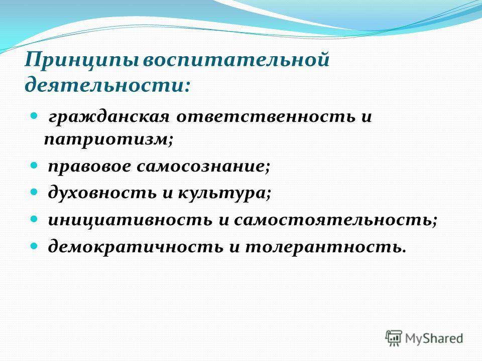 Принципы воспитательной деятельности: гражданская ответственность и патриотизм; правовое самосознание; духовность и культура; инициативность и самостоятельность; демократичность и толерантность.