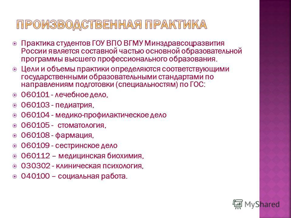 Практика студентов ГОУ ВПО ВГМУ Минздравсоцразвития России является составной частью основной образовательной программы высшего профессионального образования. Цели и объемы практики определяются соответствующими государственными образовательными стан