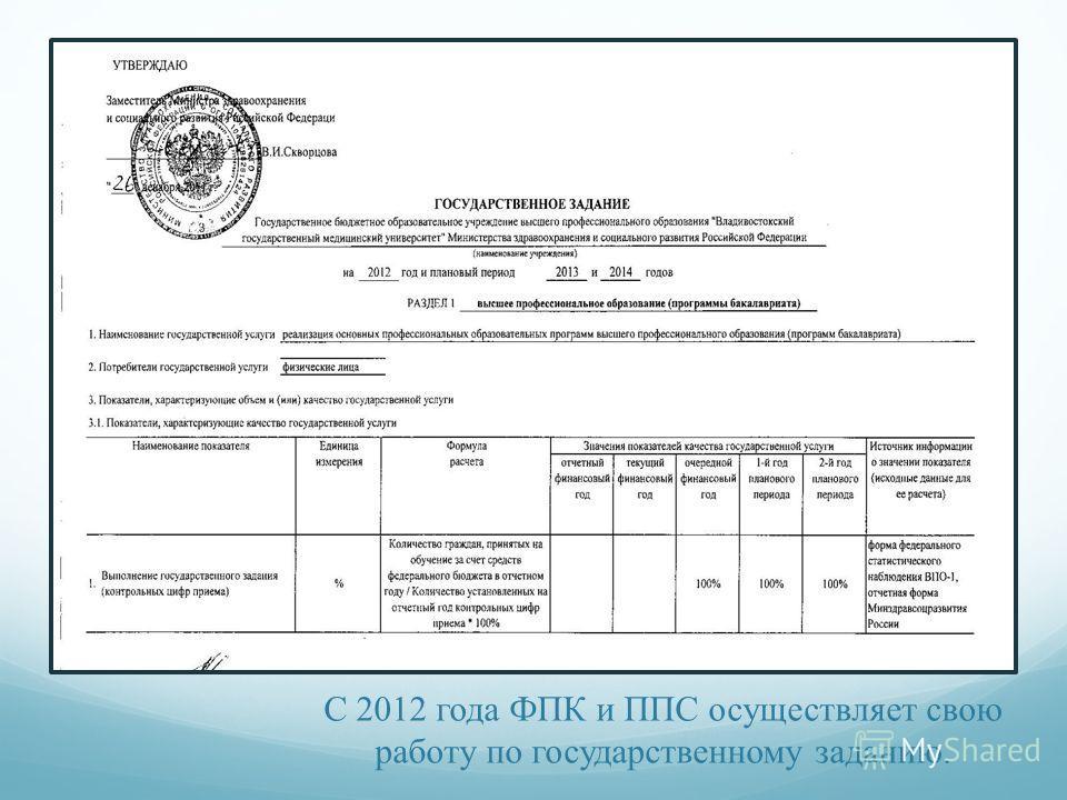 С 2012 года ФПК и ППС осуществляет свою работу по государственному заданию.