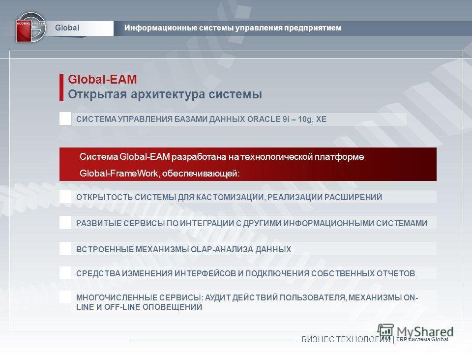 БИЗНЕС ТЕХНОЛОГИИ | ERP система Global GlobalИнформационные системы управления предприятием Global-EAM Открытая архитектура системы СИСТЕМА УПРАВЛЕНИЯ БАЗАМИ ДАННЫХ ORACLE 9i – 10g, XE Система Global-EAM разработана на технологической платформе Globa