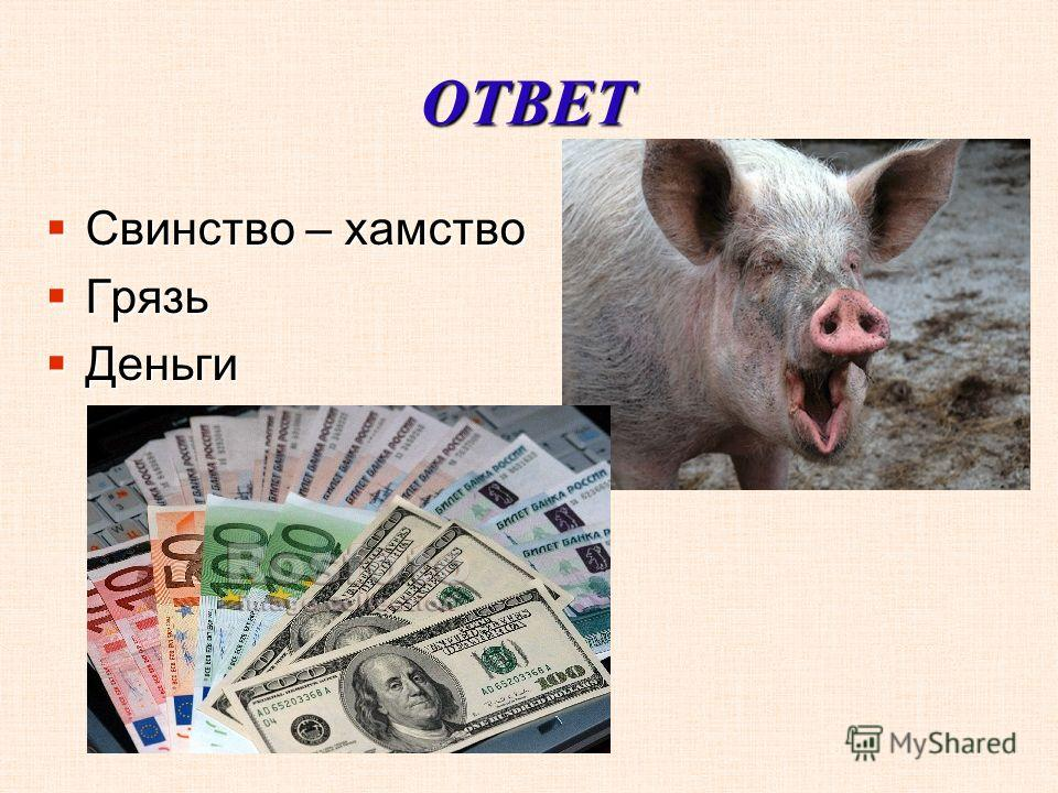 ОТВЕТ Свинство – хамство Свинство – хамство Грязь Грязь Деньги Деньги