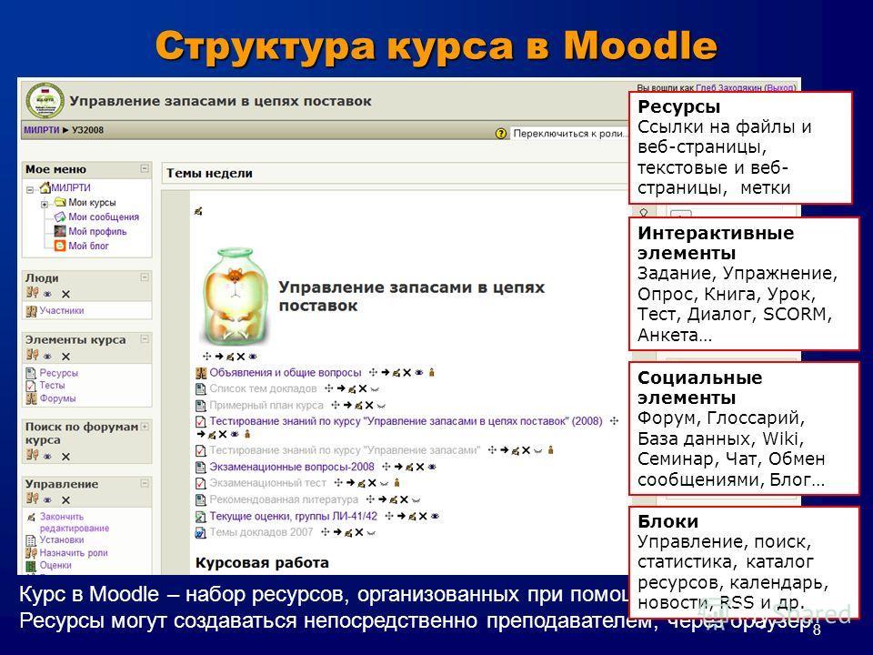 8 Курс в Moodle – набор ресурсов, организованных при помощи шаблона структуры Ресурсы могут создаваться непосредственно преподавателем, через браузер Структура курса в Moodle Ресурсы Cсылки на файлы и веб-страницы, текстовые и веб- страницы, метки Ин