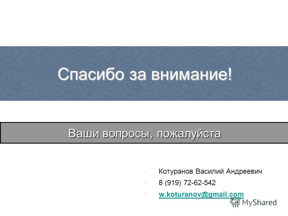 Котуранов Василий Андреевич 8 (919) 72-62-542 w.koturanov@gmail.com Спасибо за внимание! Ваши вопросы, пожалуйста