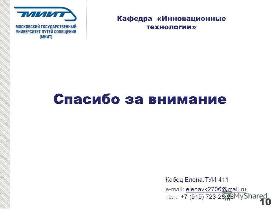 Кобец Елена.ТУИ-411 e-mail: elenavk2706@mail.ru тел.: +7 (919) 723-26-28 Кафедра «Инновационные технологии» 10