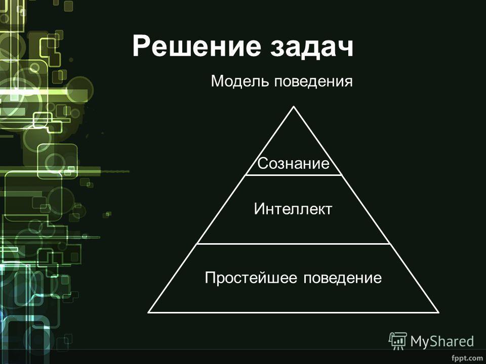 Решение задач Модель поведения Сознание Интеллект Простейшее поведение