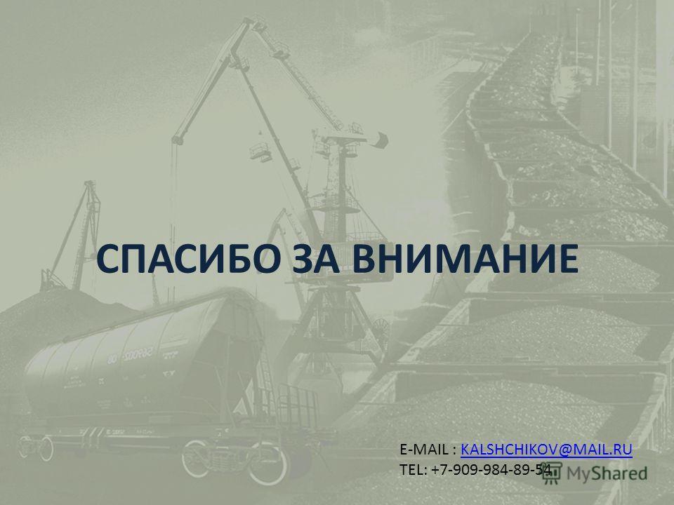 СПАСИБО ЗА ВНИМАНИЕ E-MAIL : KALSHCHIKOV@MAIL.RUKALSHCHIKOV@MAIL.RU TEL: +7-909-984-89-54