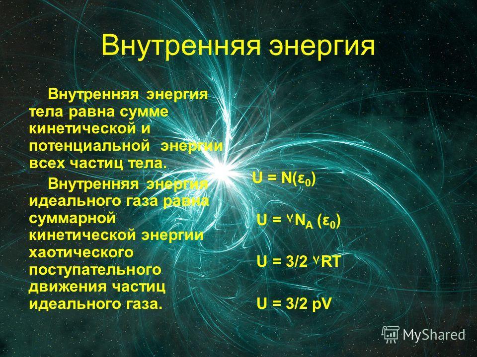Внутренняя энергия Внутренняя энергия тела равна сумме кинетической и потенциальной энергии всех частиц тела. Внутренняя энергия идеального газа равна суммарной кинетической энергии хаотического поступательного движения частиц идеального газа. U = N(